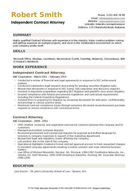 contract attorney resume samples qwikresume