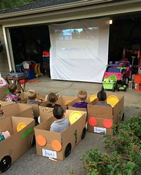 box car for kids cardboard drive in movie