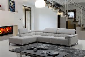 graues sofa divani casa citadel modern light grey eco leather sectional sofa w audio system