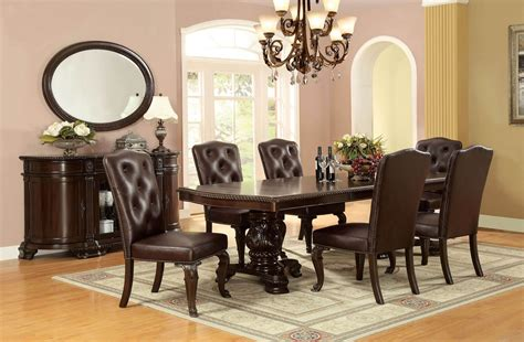 9 Piece Bellagio Formal Dining Set With Leatherette Chair