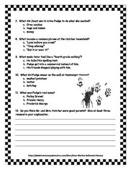 tales of a 4th grade nothing book test and key tpt