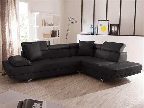 Canapé D'angle Fixe En Cuir 5 Places Avec Têtières