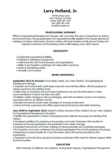 Organization Experience Resume by Professional Organizational Development Templates To