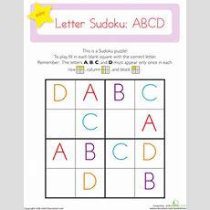 Capital Letter Sudoku Abcd  Worksheet Educationcom
