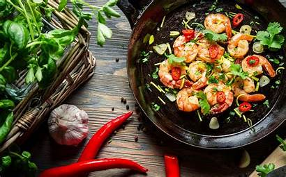 Wallpapers Shrimp Pan Chili Herbs