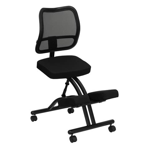 flash furniture mobile ergonomic kneeling chair with black