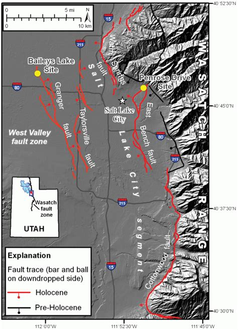 valley west fault salt lake wasatch utah map zone segment seismic geology between bench east segments survey relation evaluating faults