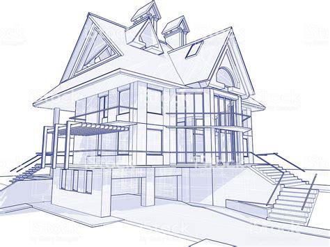 Haus Blueprint 3 D Technische Konzept Zeichnen Stock