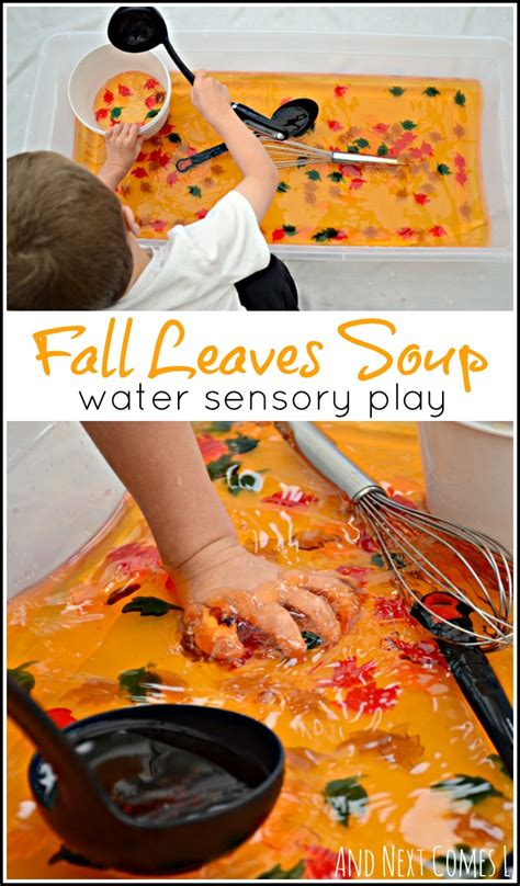fall leaves soup water sensory play and next comes l 489 | water sensory play for toddlers preschool fall autumn themed sensory soup