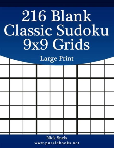 blank classic sudoku  grids large print  nick