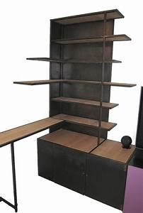 Meuble Bibliothèque Bois : meuble biblioth que multifonctions m tal et bois les ateliers du 4 ~ Teatrodelosmanantiales.com Idées de Décoration