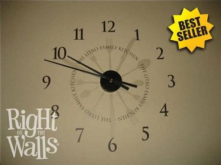 Kitchen Utensil Clock Wall Decals, Vinyl Art Stickers