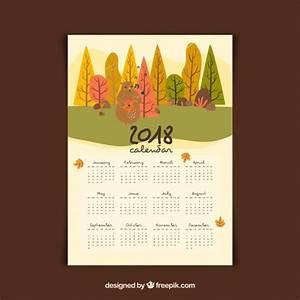 Hermosa Plantilla De Calendario De Paisaje Composición