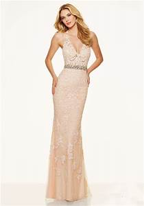 Sexy Slim Deep V Neck Backless Champagne Lace Prom Dress ...