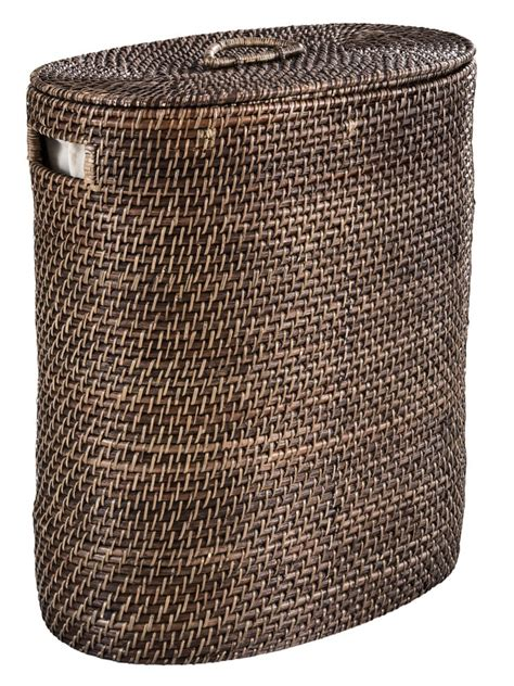 panier 224 linge sale en rotin design couvercle amovible