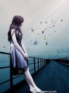 girl watching butterfly profile pics