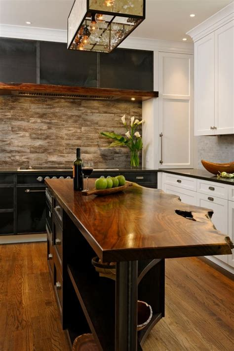 kitchen island  rustic  edge walnut countertop hgtv