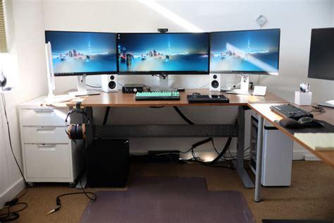 gaming computer desk for multiple monitors ikea gaming computer desk setup with drawer also triple