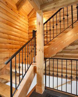 custom log home rustic staircase boston  color