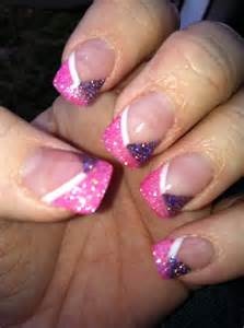 Pink and Purple Glitter Nails