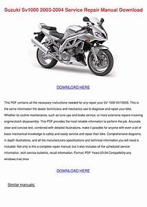 Suzuki Sv1000 2003 2004 Service Repair Manual By