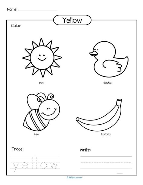 color yellow printable color trace  write teach