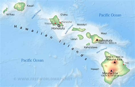physical map  hawaii