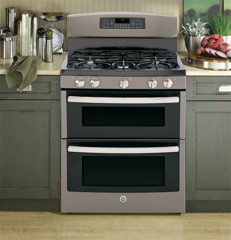 jgbeefes ge   standing gas double oven range slate