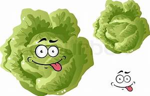 Green funny cabbage vegetable in cartoon style isoated on ...