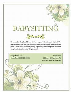 Babysitter Flyer Sample Free Babysitting Flyers Templates And Ideas