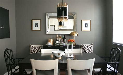 chic dining room design  gorgeous dark gray walls