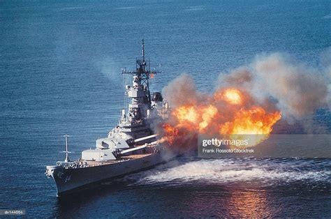 Guns Firing Aboard Battleship Uss Wisconsin High-Res Stock ...