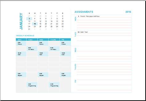ms excel weekly task planning calendar template excel