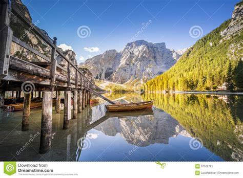 Lake Braies Lago Di Braies Dolomiti Mountains Italy