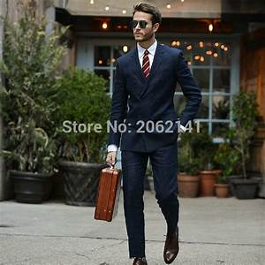 British Fashion Street Style Men Suits Double Breasted ...