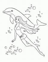Coloring Barbie Pages Swimming Swim Pdf sketch template