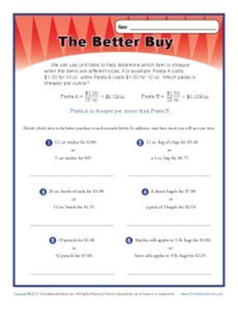 Which Is The Better Purchase?  Ratio Worksheets For 6th Grade