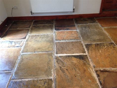 restoring the appearance of a dull yorkstone floor