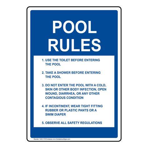 Pool Rules Sign Nhe17473arizona Swimming Pool  Spa