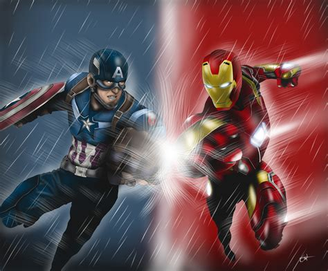 Captain America And Iron Man Artwork 5k, Hd Superheroes
