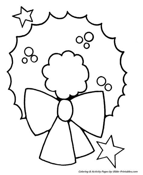 easy pre k coloring pages wreath 613 | prek xmas 010