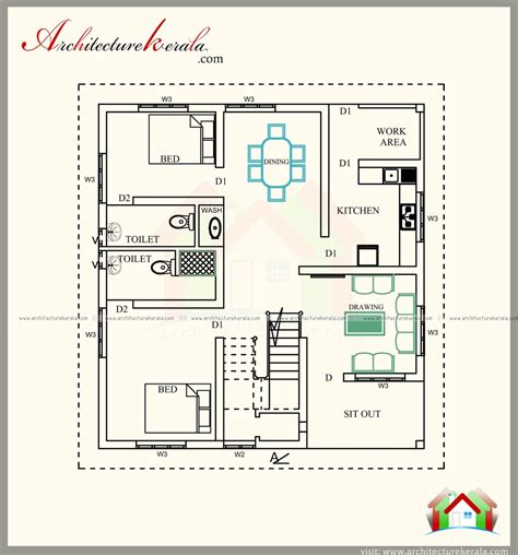 Bathroom Floor Plans India by 1700 Sq Ft House Plan 4 Bed Room With Attached Bathroom