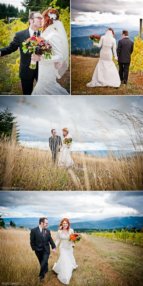 vibrant fall wedding   vineyard venue