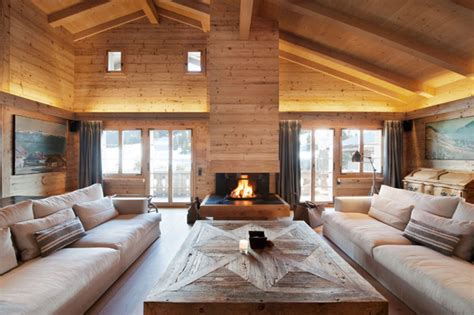 swiss chalet decor soft textures and clean lines chalet gstaad in the swiss alps freshome com
