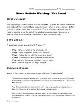 quot write a lead quot worksheet for journalism class learn to