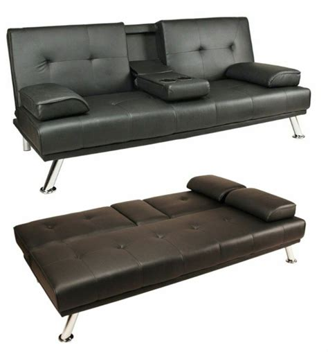 Bed Settees Sofa Beds by Black Modern Faux Leather Sofa Bed Click Clack