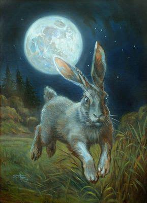 moon hare oil  primed masonite hares rabbits