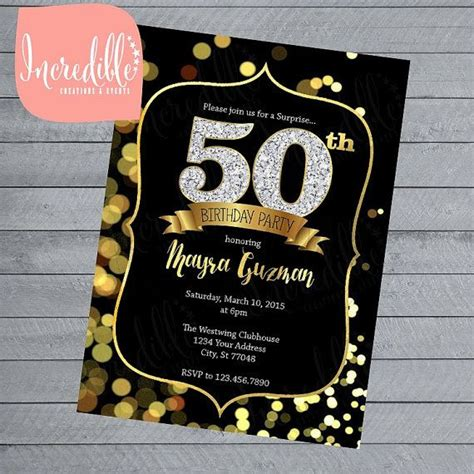 Black and Gold Birthday Invite 21st 30th 40th 50th by