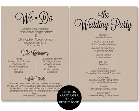 ceremony program template wedding program printable