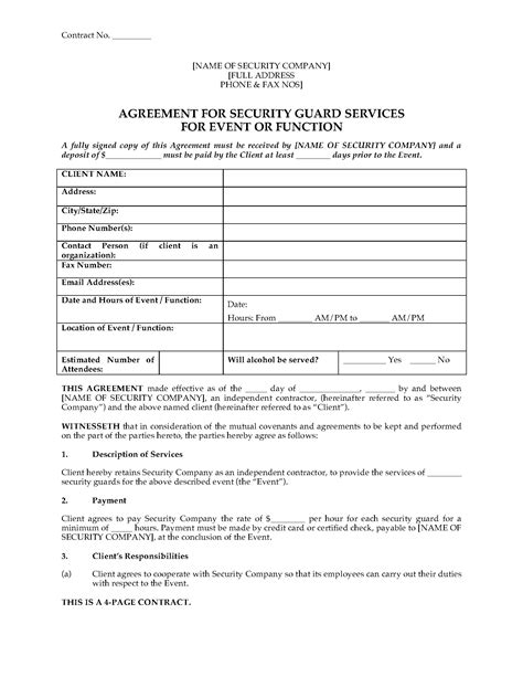 security company contract template usa security guard agreement for event or function forms and business templates